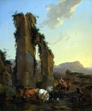 212/berchem, nicolaes - peasants with cattle by a ruined aqueduct